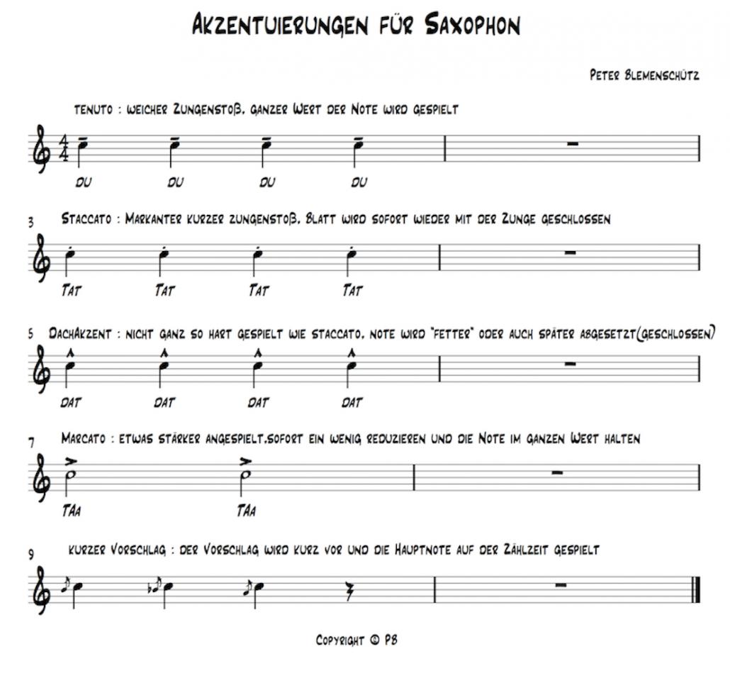 Akzentuierungen am Saxophon